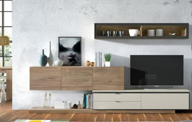 Oferta de Muebles de salón con acabado en roble smart, arena y grafito poro por 883€