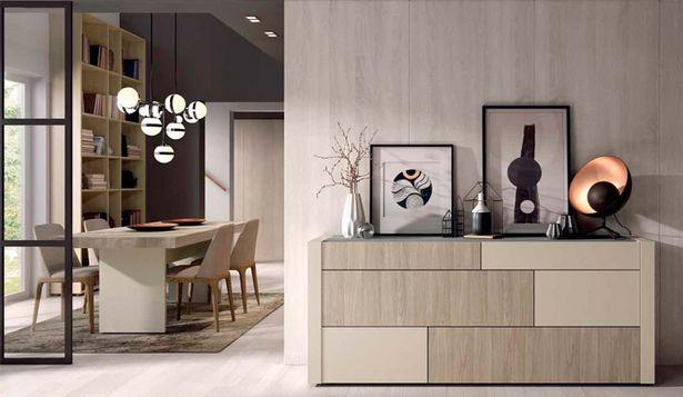 Oferta de Mueble aparador en olmo gris y beige cuero de 196x82x45 por 751€