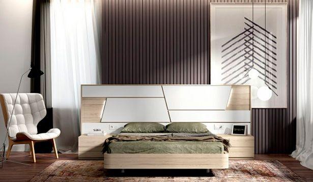 Oferta de Dormitorio de matrimonio con acabados en roble y blanco por 784€