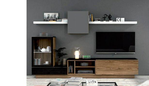Oferta de Mueble de salón de estilo moderno en negro poro, blanco brillo y gris por 979€