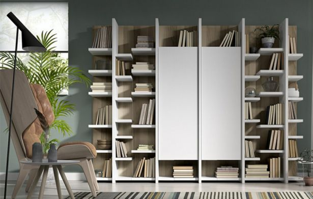 Oferta de Mueble librería con dos puertas centrales en nogal y blanco por 1188€