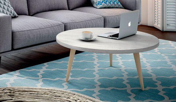 Oferta de Mesa de centro, con forma redondeada, estilo nórdico en blanco ártico por 153€