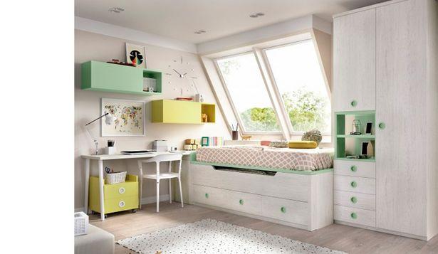 Oferta de Dormitorio juvenil con cama doble y armario en artic, menta y miel por 1687€