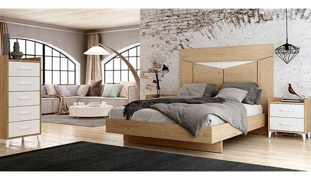 Oferta de Dormitorio de matrimonio moderno de estilo nordico en blanco y bambú por 678€