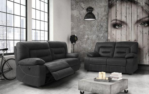 Oferta de Sofá de dos plazas fijo y tres plazas con relax eléctrico por 1655€
