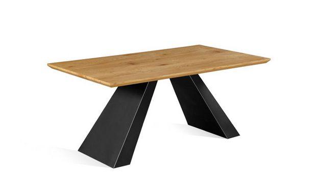 Oferta de Mesa fija rústica en roble quercus y negro de 160x90 cm. por 499€