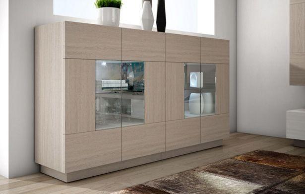 Oferta de Moderno mueble auxiliar con vitrinas expositoras en roble aserrado por 594€