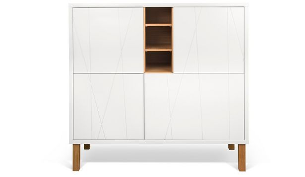 Oferta de Aparador moderno de estilo nórdico de cuatro puertas y acabados blanco por 714€