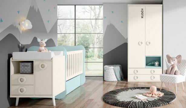 Oferta de Dormitorio infantil con acabados en marfil, azul nube y blanco por 1166€