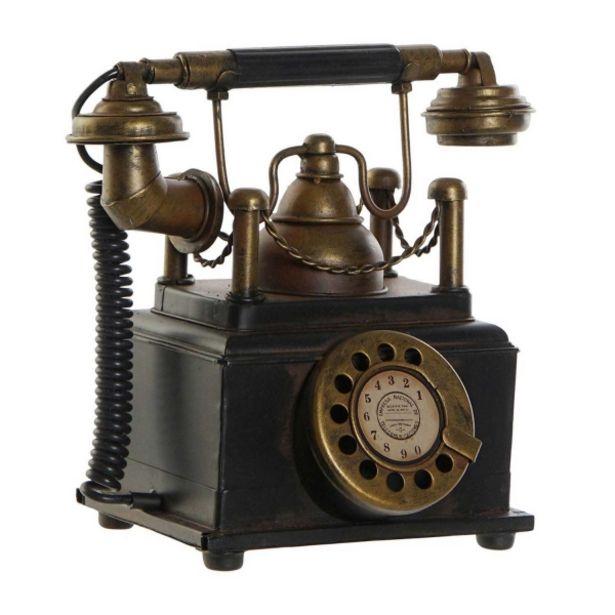 Oferta de Decoración Metal Telefono Negro por 19,99€