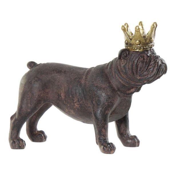 Oferta de Figura Resina Perro Bulldog Corona por 10,95€