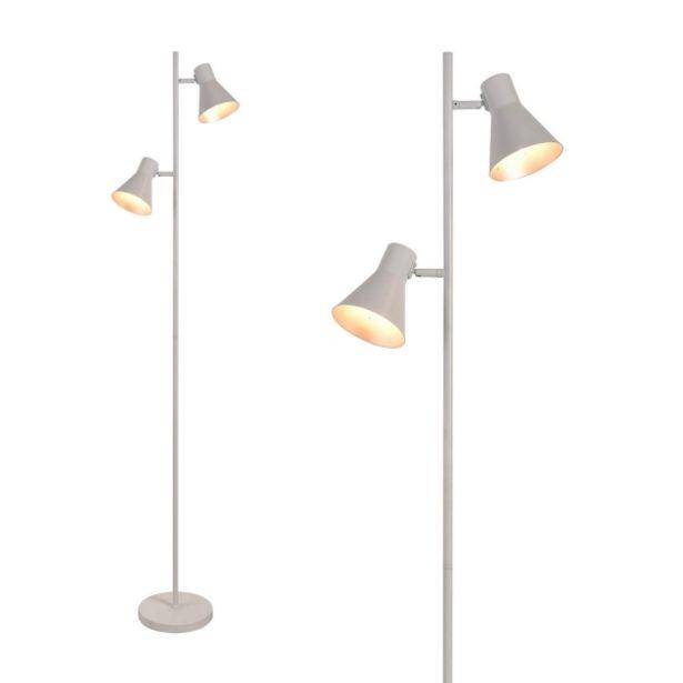 Oferta de Lámpara De Pie Decorativa 2 Luces Clarence Blanco por 69,95€