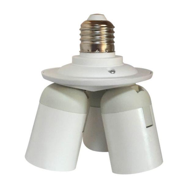 Oferta de Portalámparas 3 Luces E27 Blanco por 8,95€