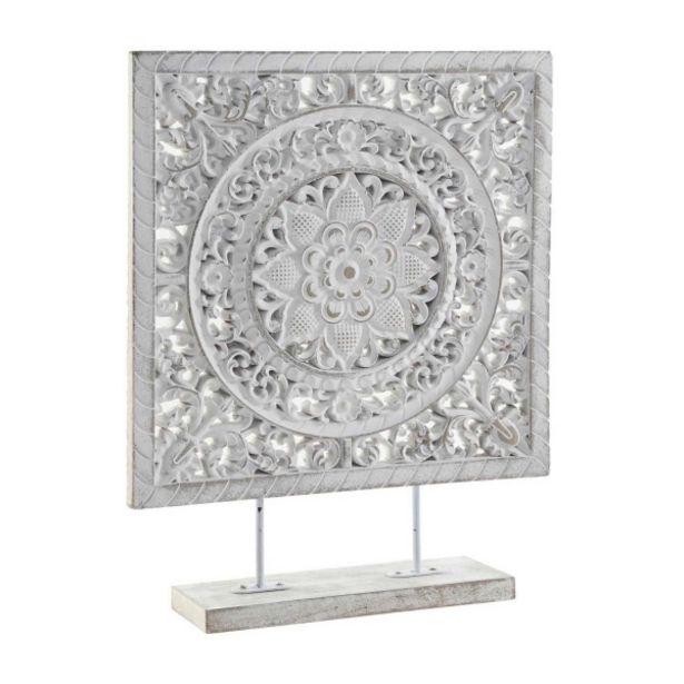 Oferta de Decoración Mandala Metal Cuadrado Decape Blanco por 13,94€
