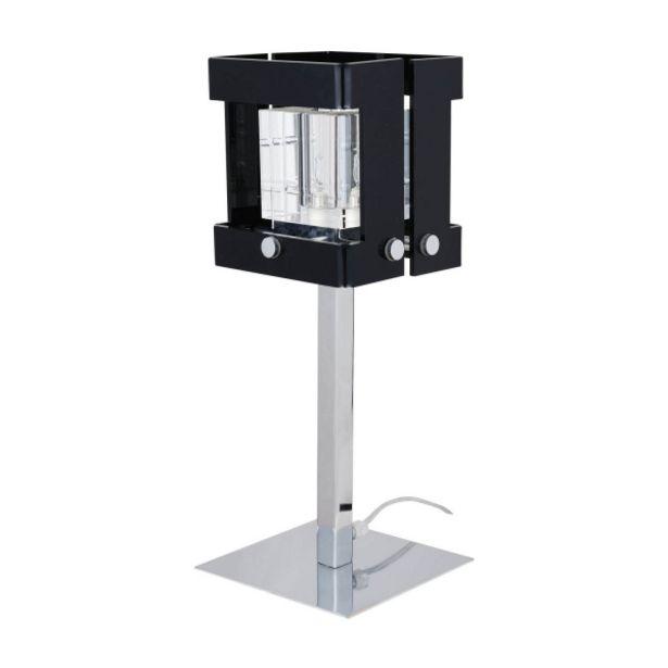 Oferta de Lámpara De Mesa Narciso Cromo Negro por 39€