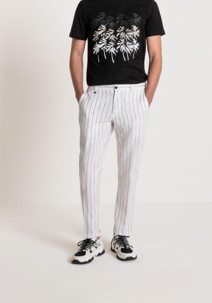 "Oferta de Pantalones Slim Fit ""joe"" De Tejido Mixto Lino Y Algodón Con Jareta Regulable por 62,3€"
