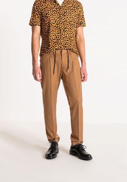 "Oferta de Pantalones Carrot Fit ""kris"" Con Jareta, De Tejido Mixto De Viscosa Stretch Efecto Soft Touch por 44,5€"