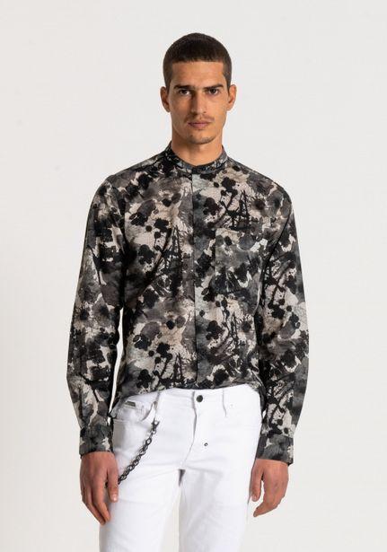 Oferta de Camisa Regular Fit 100% Algodón Con Fantasía Jacquard Y Salpicaduras De Pintura All Over por 48,3€