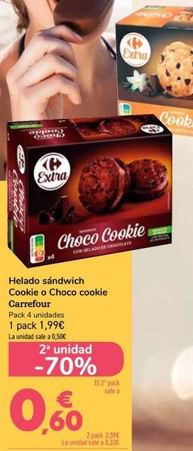 Oferta de Helado sándwich Cookie o Choco cookie Carrefour por 1,99€