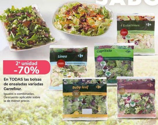 Oferta de En TODAS las bolsas de ensaladas variadas Carrefour  por