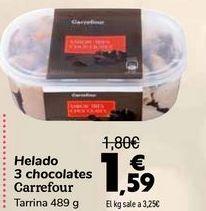 Oferta de Helados 3 chocolates Carrefour  por 1,59€