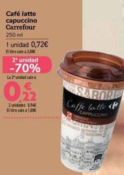 Oferta de Café latte capuccino Carrefour  por 0,72€