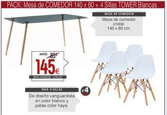 Oferta de Mesa + 4 sillas por 145€