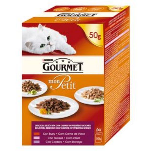 Oferta de Comida de gato Gourmet Mon Petit carne p6x50g por 1,85€
