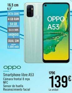 Oferta de OPPO Smartphone libre A53  por 139€