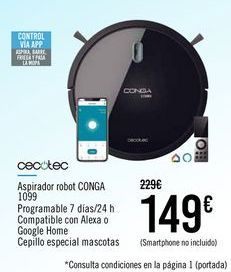 Oferta de CECOTEC Aspirador robot CONGA 1099 por 149€