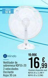 Oferta de Klindo Ventilador de sobremesa KDF55-20 por 16,99€