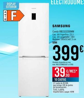 Oferta de SAMSUNG Combi RB33J3200WW por 399€