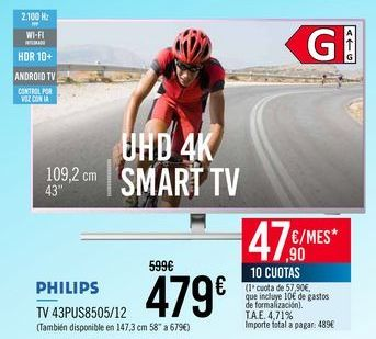 Oferta de PHILIPS TV 43PUS8505/12 por 479€