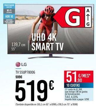 Oferta de LG TV 55UP78006 por 519€