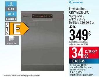 Oferta de CANDY Lavavajillas CDPN2D360PX por 349€