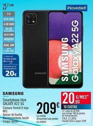 Oferta de SAMSUNG Smartphone libre GALAXY A22 5G por 209€