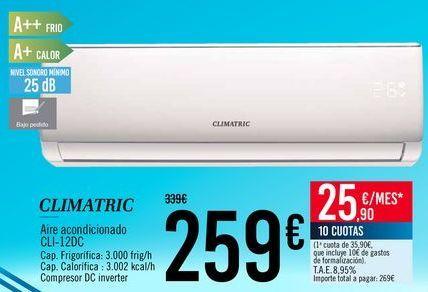 Oferta de CLIMATRIC Aire acondicionado CLI-12DC por 259€