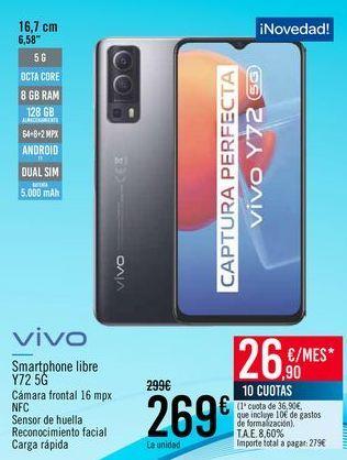Oferta de VIVO Smartphone libre Y72 5G por 269€