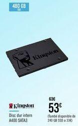 Oferta de KINGSTON Disco duro interno A400 SATA3 por 53€