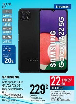 Oferta de SAMSUNG Smartphone libre GALAXY A22 5G por 229€