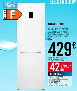 Oferta de SAMSUNG Combi RB33J3200WW por 429€