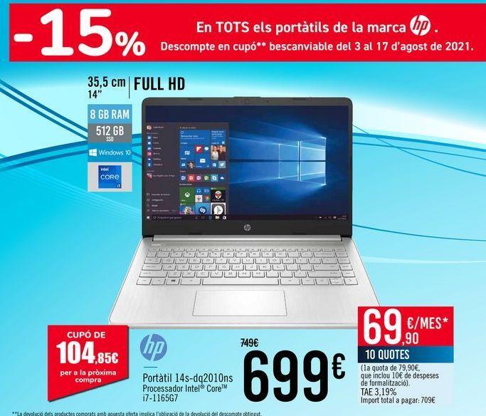 Oferta de HP Portátil 14s-dq2010ns por 699€
