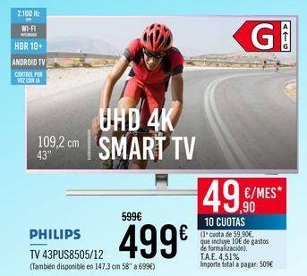 Oferta de PHILIPS TV 43PUS8505/12 por 499€