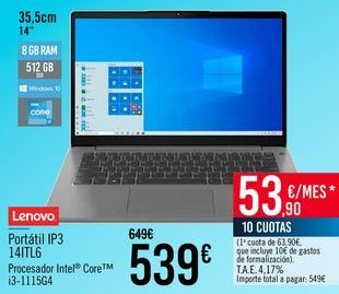 Oferta de Lenovo Portátil IP3 14ITL6 por 539€