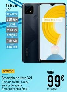 Oferta de Realme Smartphone libre C21 por 99€