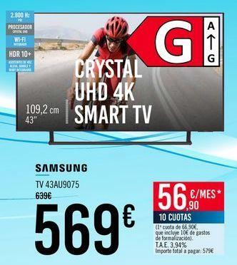 Oferta de SAMSUNG TV 43AU9075 por 569€