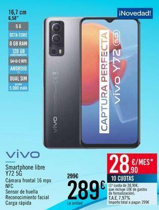 Oferta de VIVO Smartphone libre Y72 5G por 289€