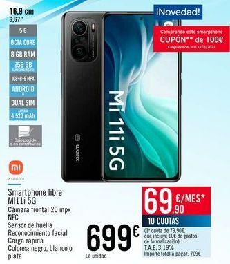 Oferta de XIAOMI Smartphone libre M1 5G por 699€