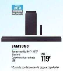 Oferta de SAMSUNG Barra de sonido HW-T450/ZF por 119€