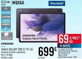 Oferta de SAMSUNG Tablet GALAXY TAB S7 FE 5G por 699€